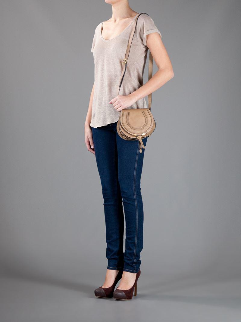 lyst chlo 39 the marcie 39 mini shoulder bag in brown. Black Bedroom Furniture Sets. Home Design Ideas