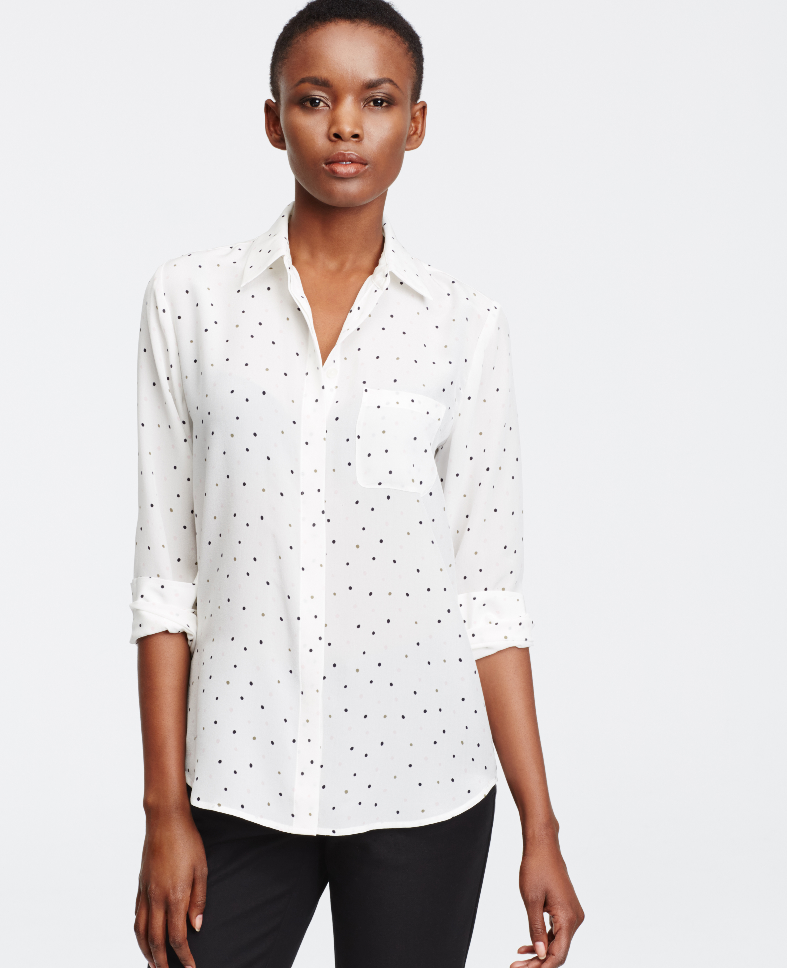 Ann Taylor Dotted Silk Blouse In White Lyst