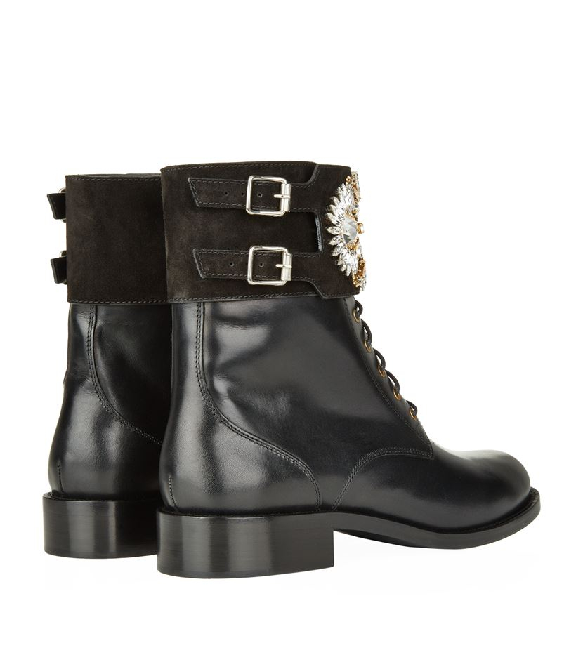 Rene Caovilla Heliotrope Embellished Boot in Black