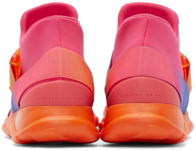 Christopher Kane Pink Neoprene Buckle High-top Sneakers