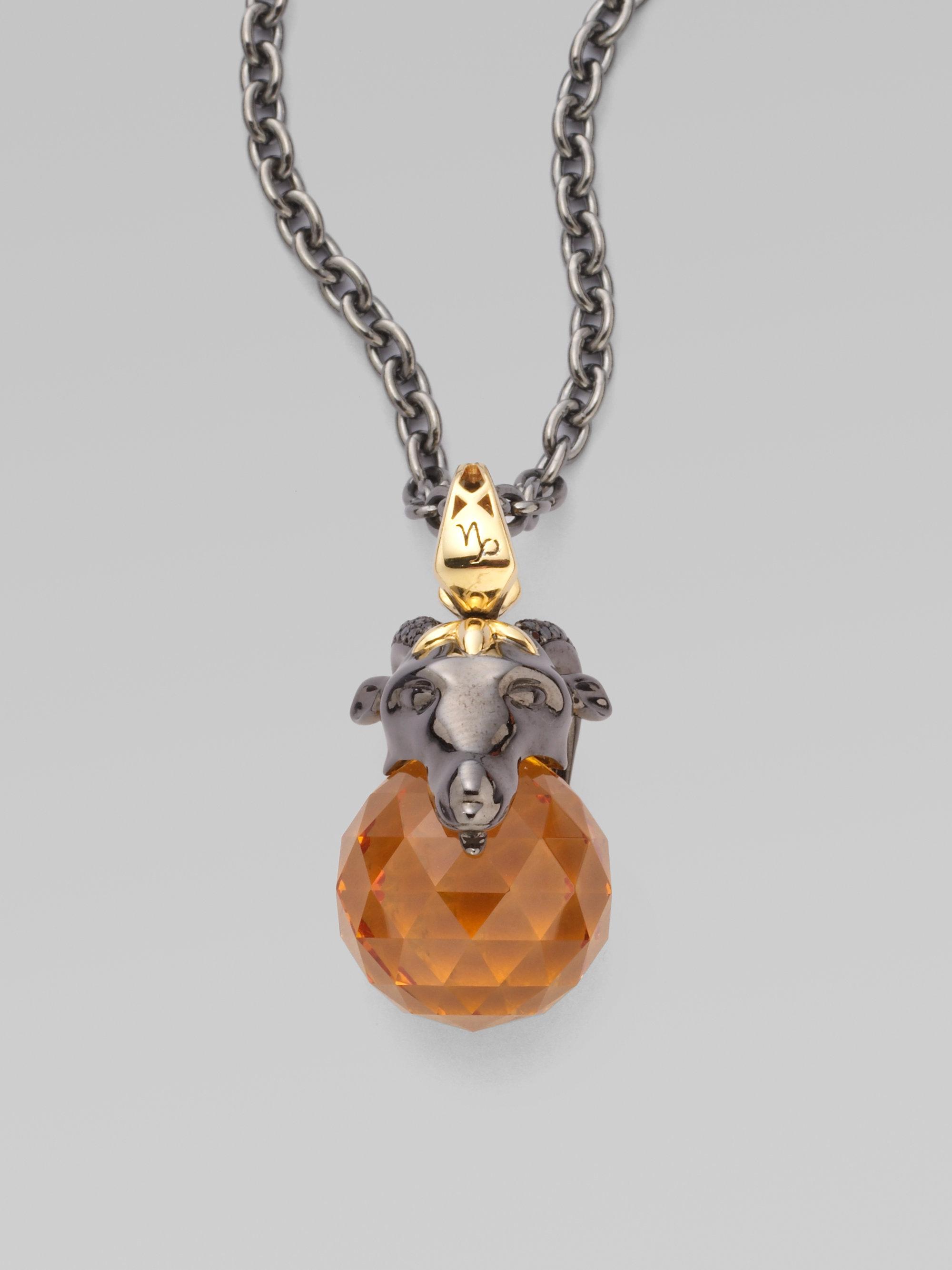 Stephen Webster Capricorn Astro Pendant Necklace In Orange