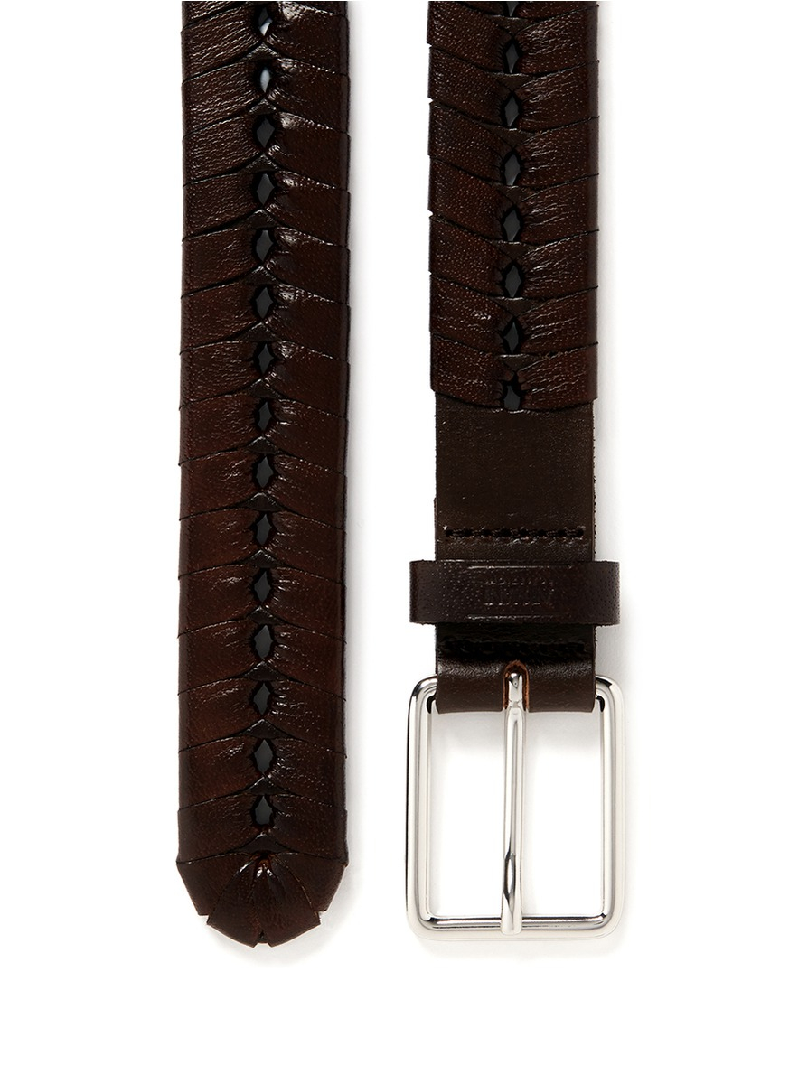 armani alligator effect wrap leather belt in brown for