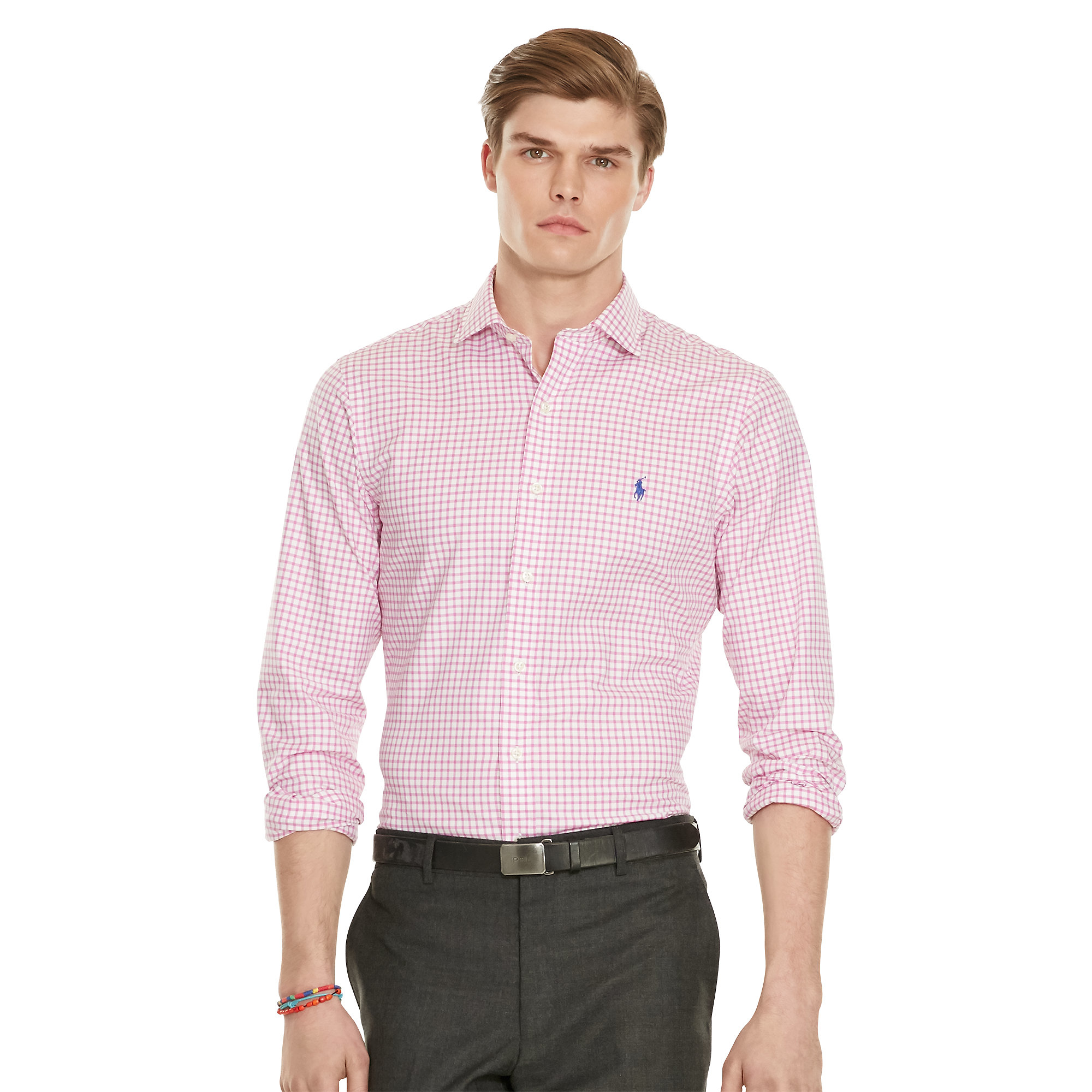 2ee0510772b6 Lyst - Polo Ralph Lauren Slim-fit Gingham Twill Shirt in Pink for Men