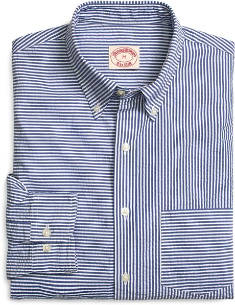 Brooks brothers navy and white seersucker fun shirt in Brooks brothers shirt size guide