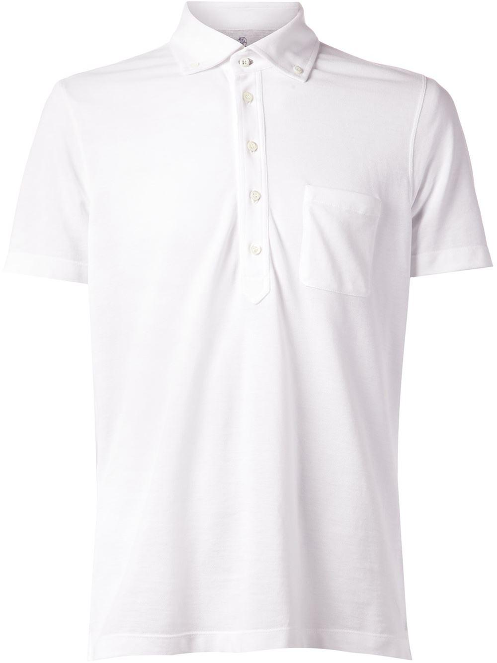 Brunello cucinelli button down collar polo shirt in white for White button down collar shirt