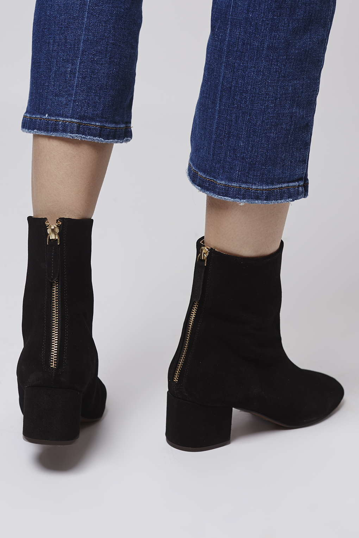 topshop avocado 60 s suede boots in black lyst