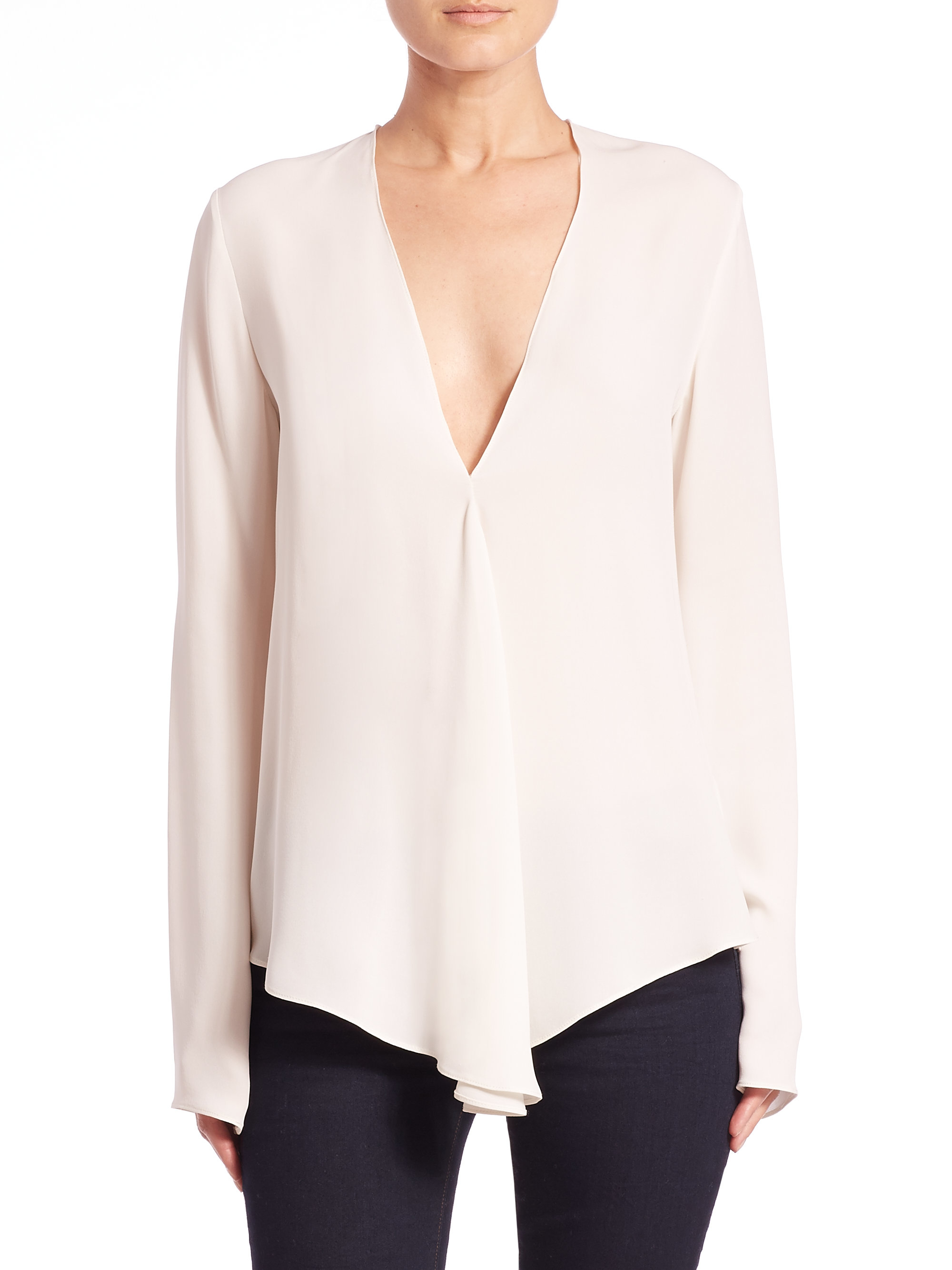 V Neck Silk Blouse 102