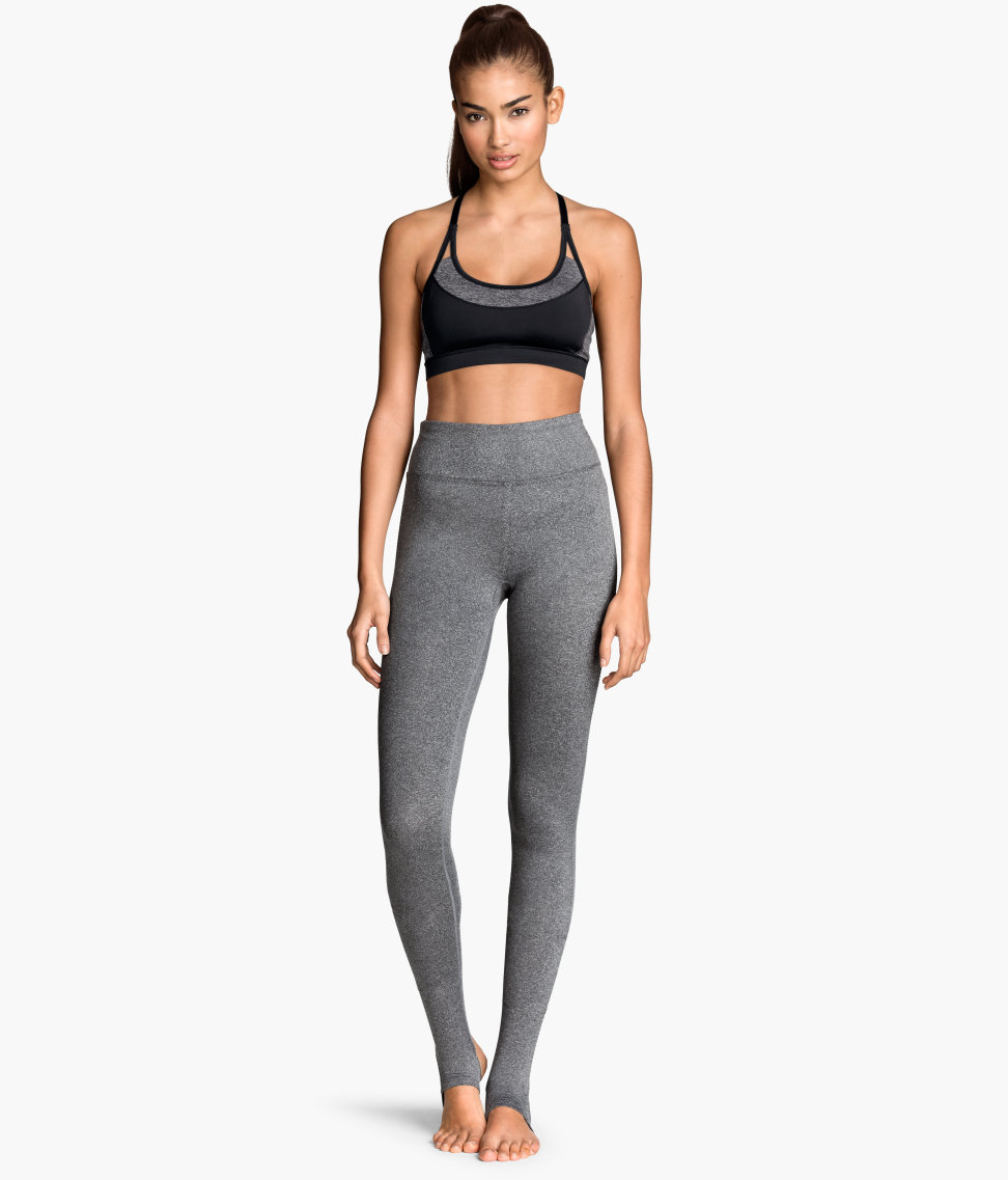 H&m Yoga Tights In Gray