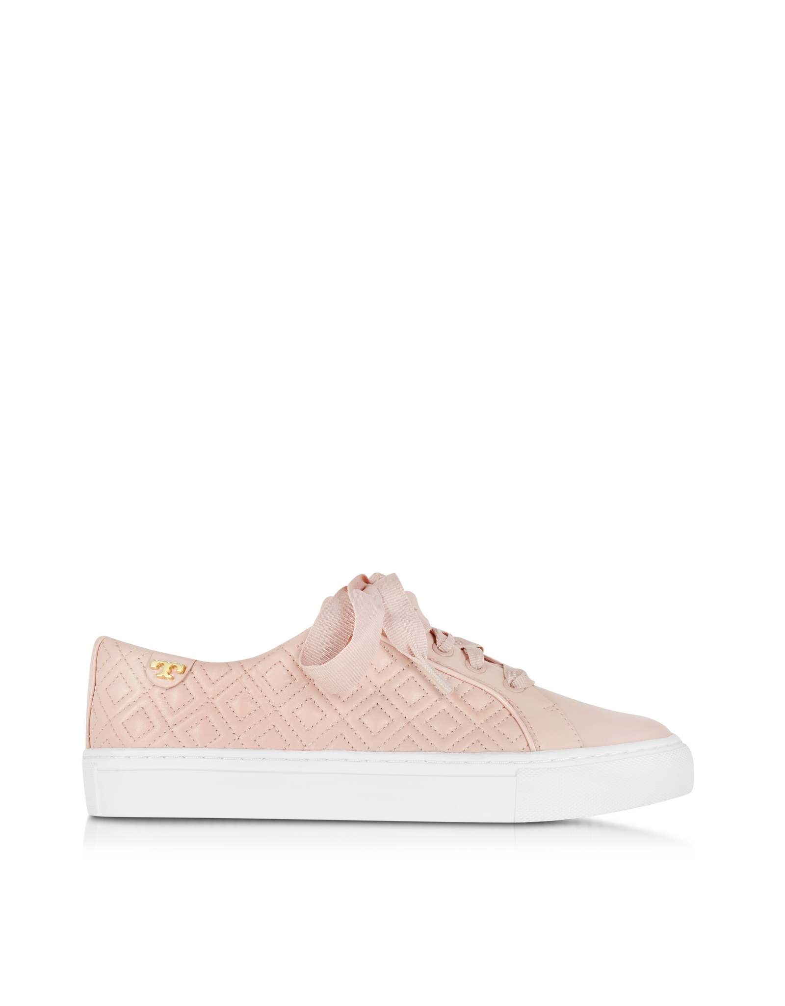 c36792f6b621a Lyst - Tory Burch Marion Sachet Pink Quilted Lace-up Sneaker in Pink