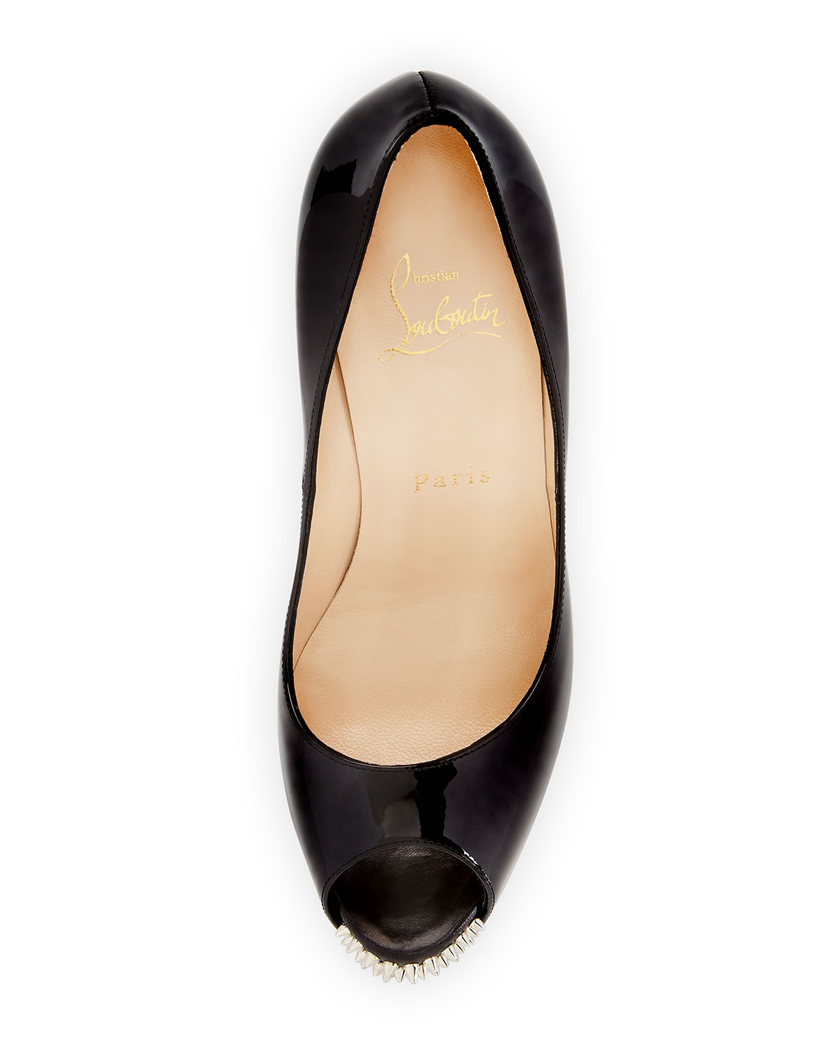 black loafers with spikes - Christian louboutin New Very Prive Studded Leather Pumps in Black ...