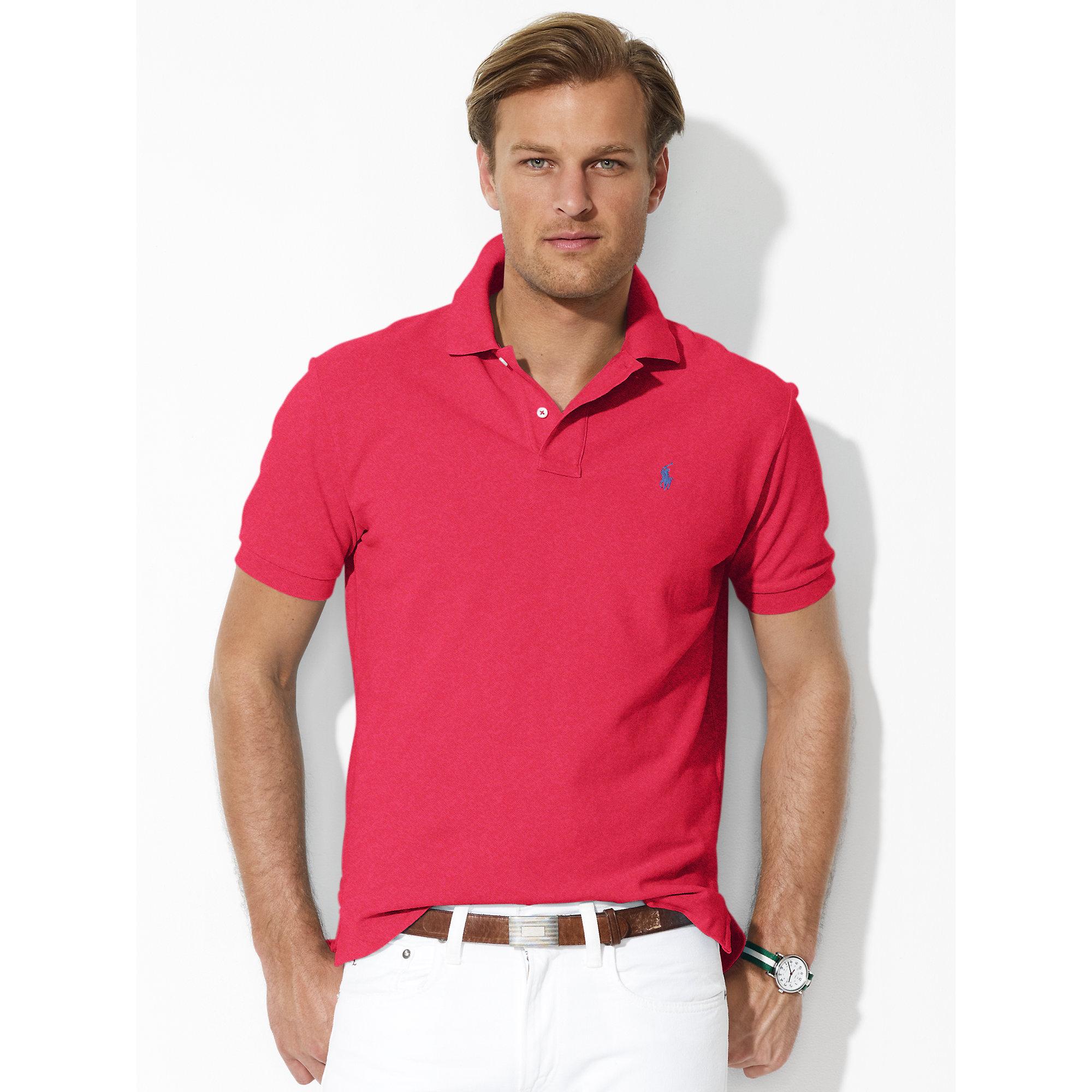e11926e6b74a ... reduced lyst polo ralph lauren classic fit mesh polo in red for men  7da4a 785d8