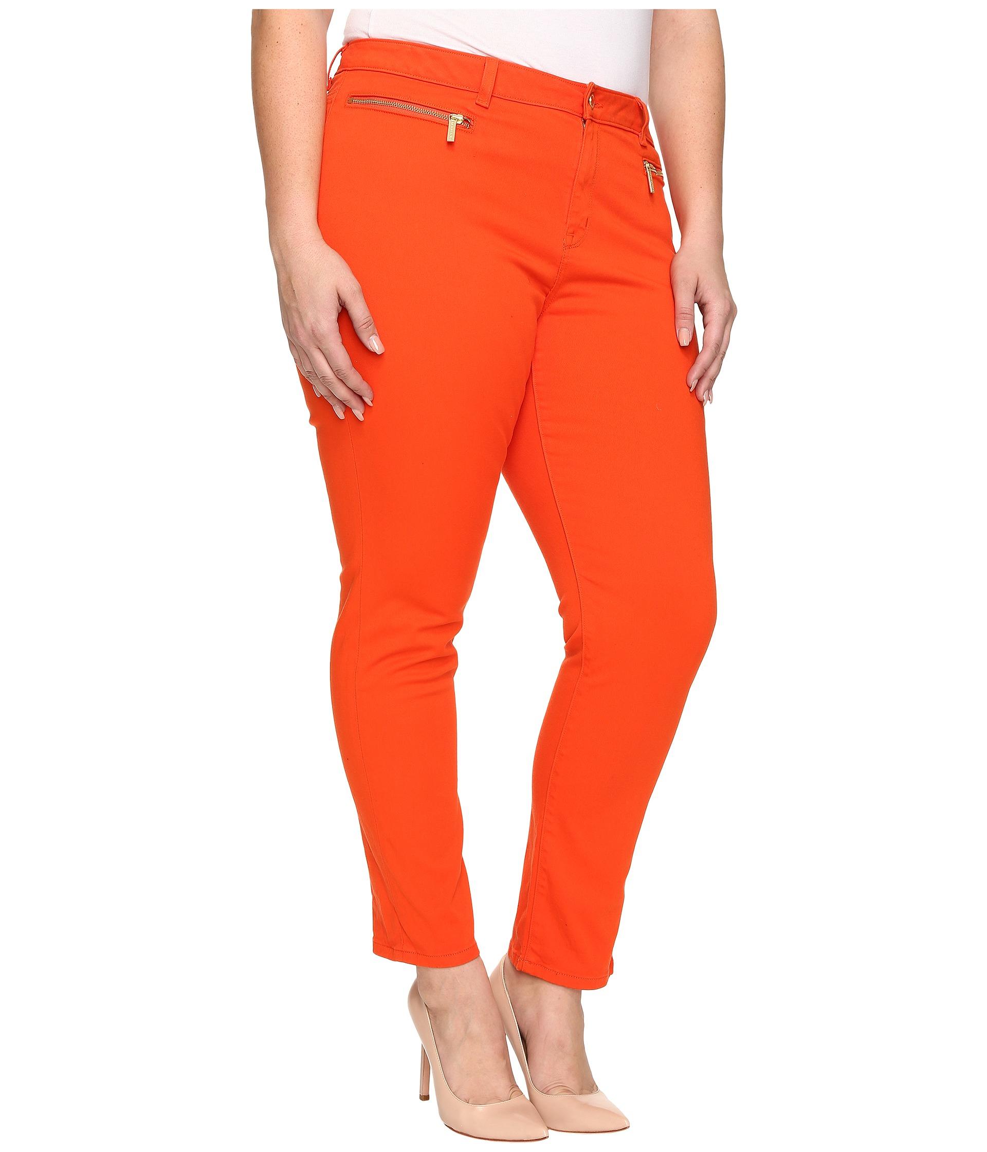 75f3d05b8a7 Lyst - MICHAEL Michael Kors Plus Size Skinny Jeans W  Zip in Orange