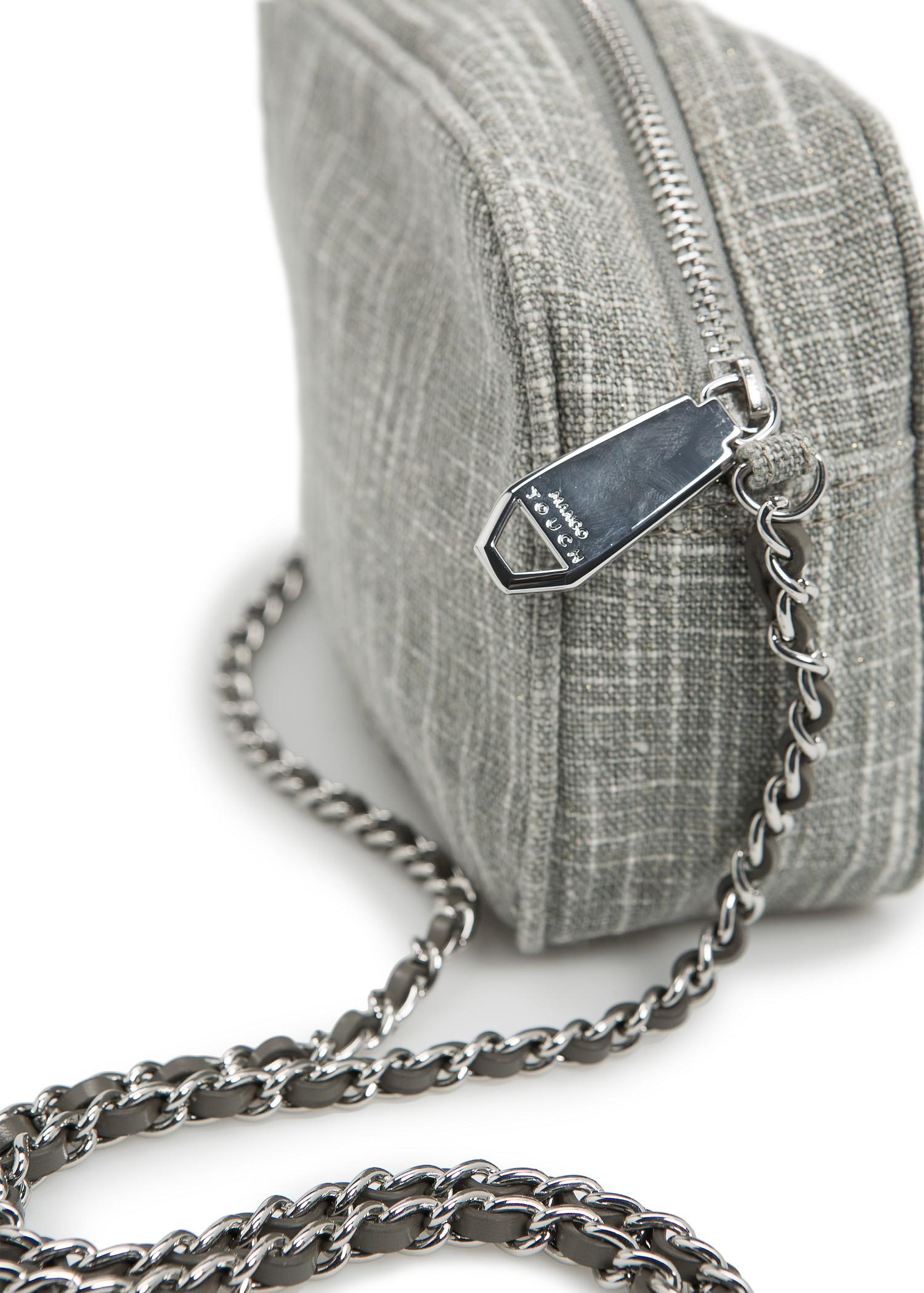 Lyst Mango Touch Lurex Boucl 233 Bag In Gray