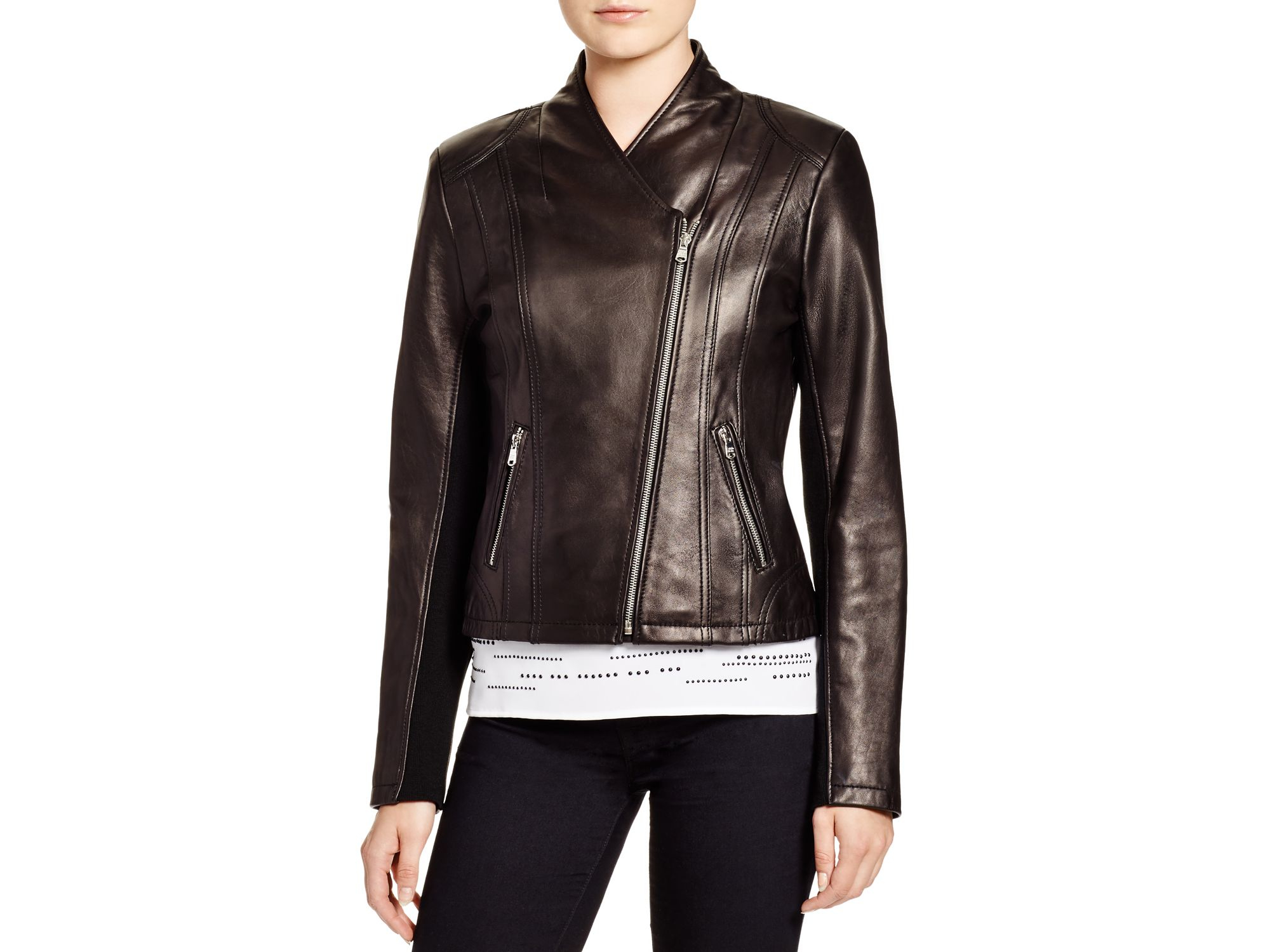 1fed0f3b Calvin Klein Black Leather Moto Jacket - Bloomingdale's Exclusive