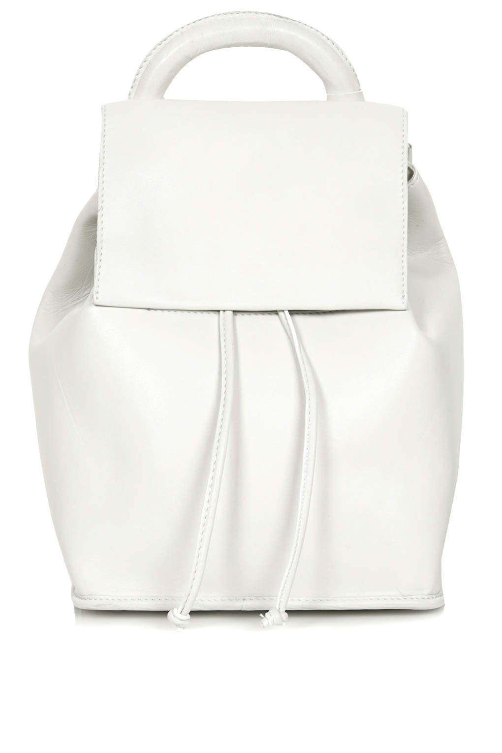 Topshop Premium Clean Leather Backpack in White | Lyst