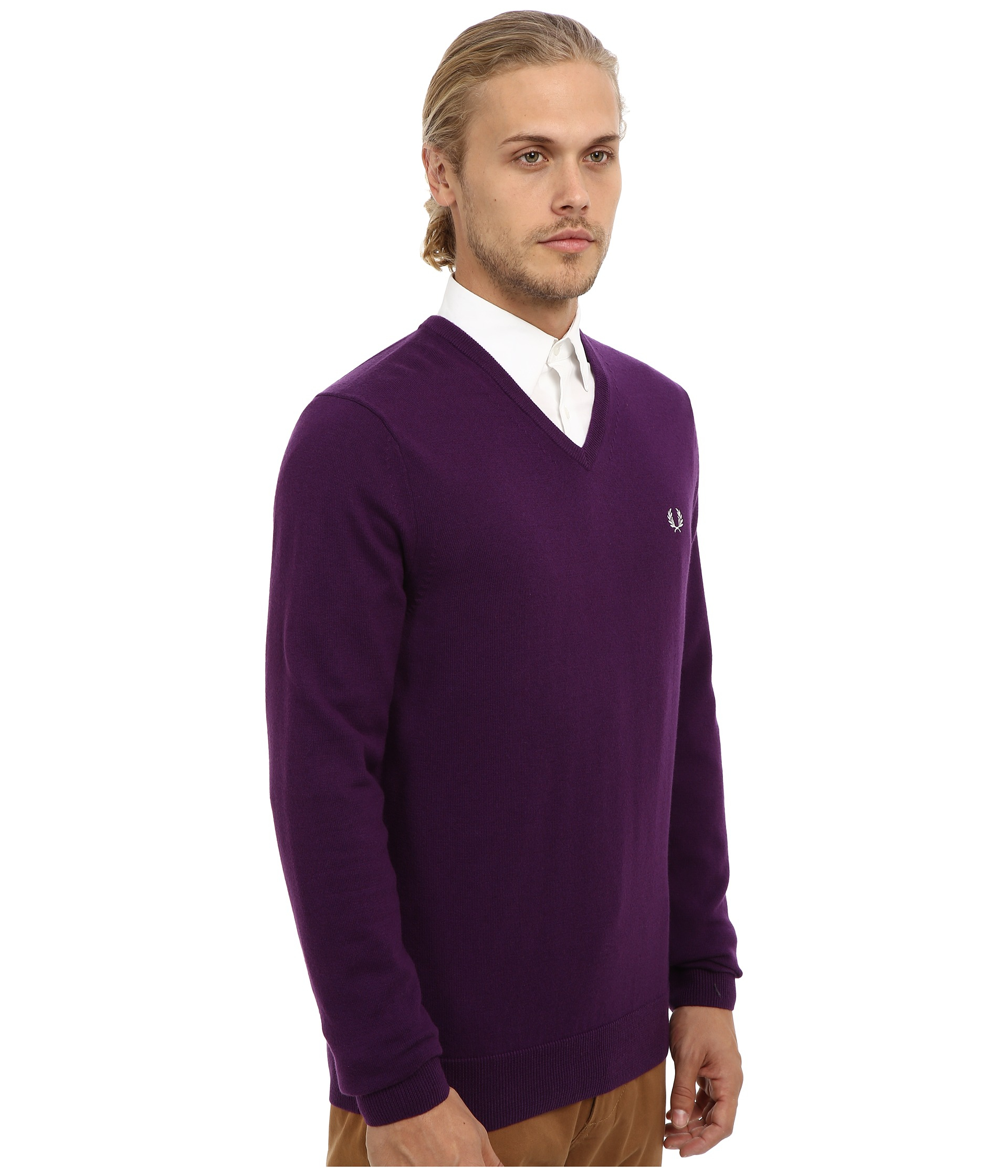 fred perry classic v neck sweater in purple for men lyst. Black Bedroom Furniture Sets. Home Design Ideas