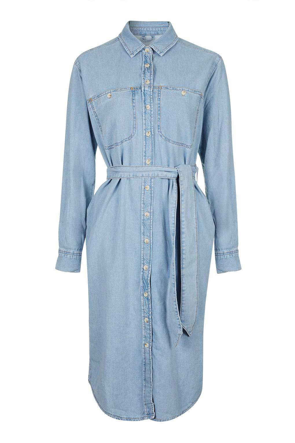 Topshop moto midi shirt dress in blue lyst for Womens denim shirts topshop