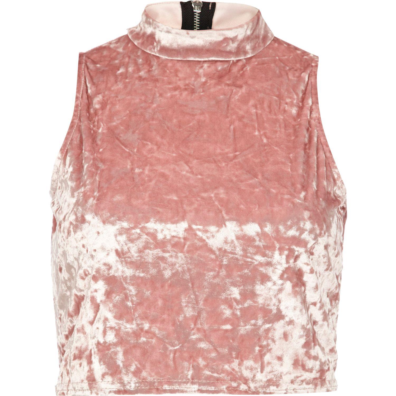 d2b07cc68ce River Island Light Pink Velvet Turtle Neck Crop Top in Pink - Lyst