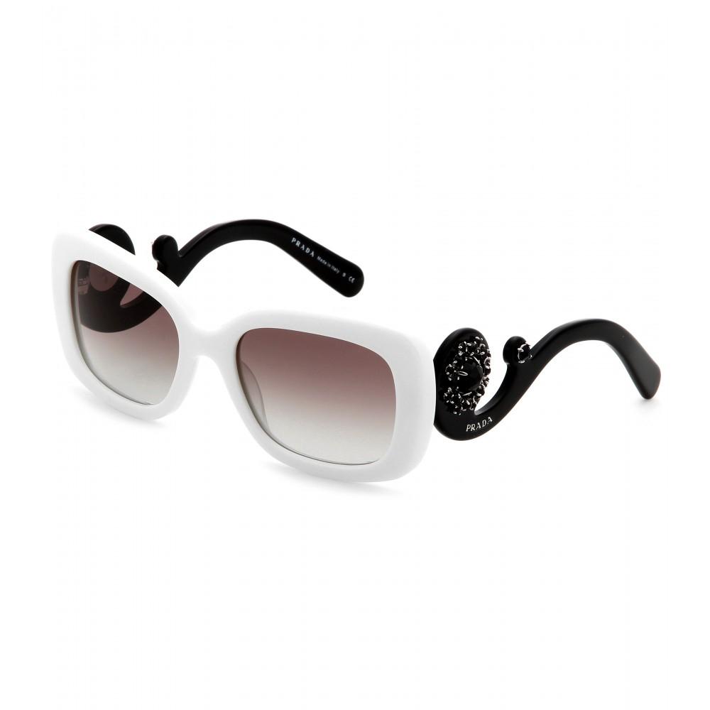 4c896c9fc ... ireland lyst prada minimal baroque square frame sunglasses in white  6b065 e2573