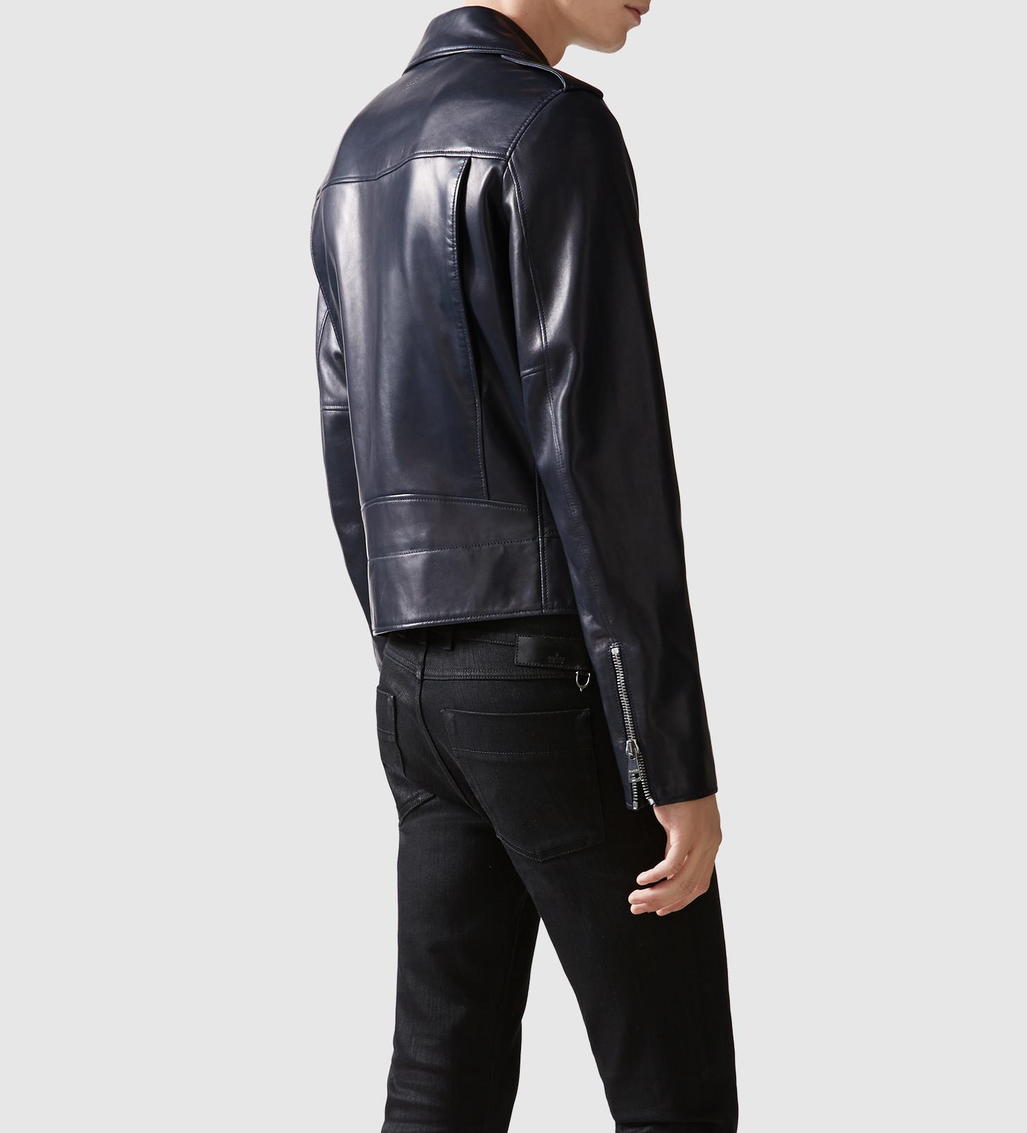 lyst gucci leather biker jacket in black for men