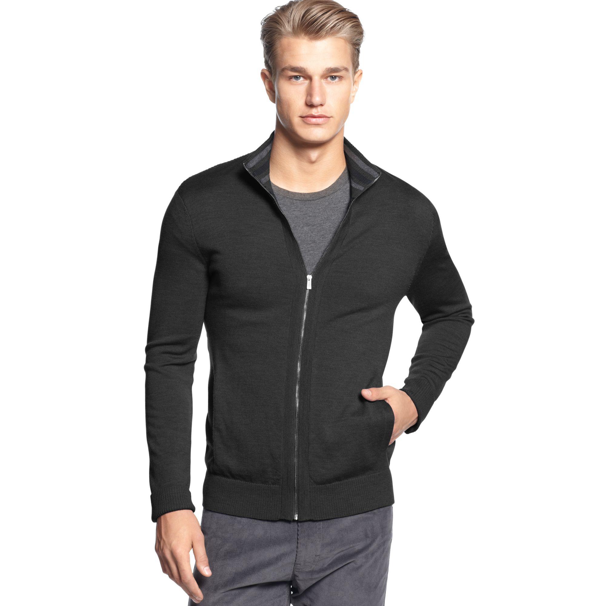 Lyst Calvin Klein Full Zipper Merino Sweater In Gray For Men
