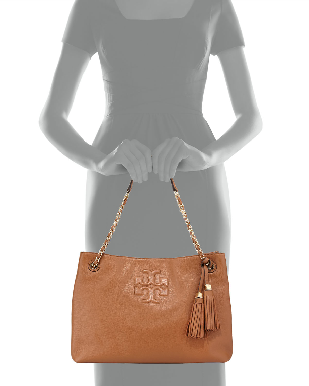 b658b1679d0e Lyst - Tory Burch Thea Large Chain Tote Bag in Brown
