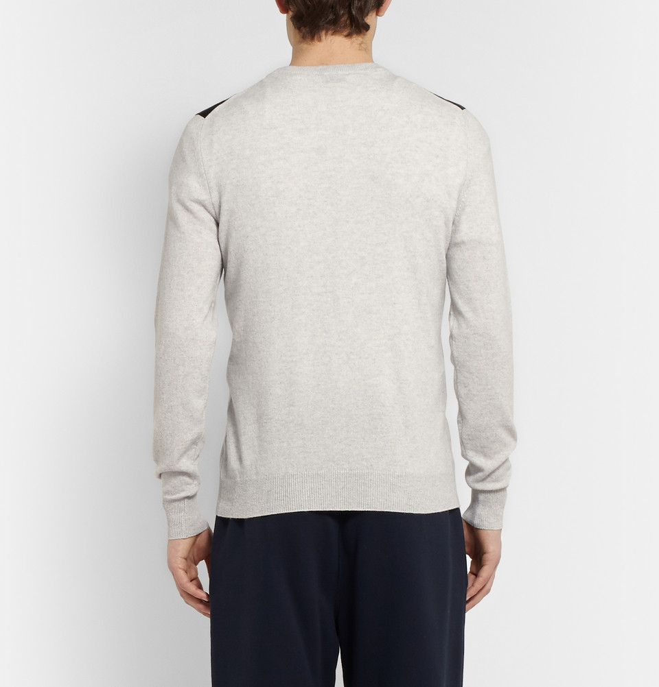 Exemplaire Leather-Panelled Cashmere Sweater in Grey for Men