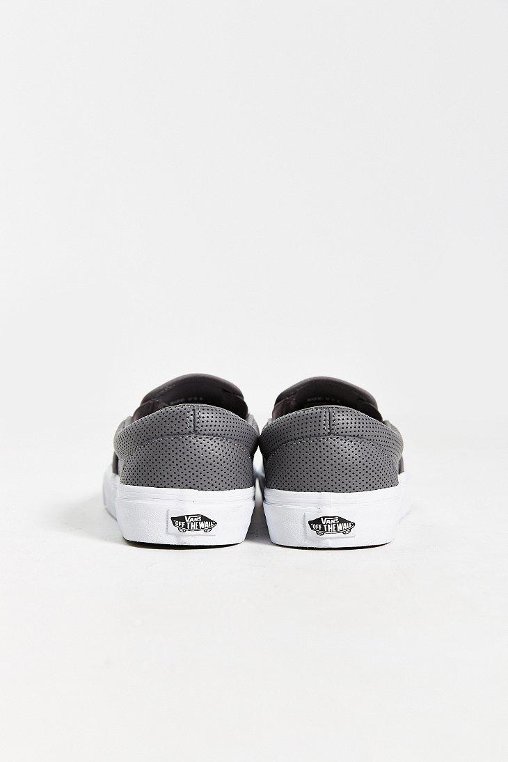 Vans Leather Slip On Men S Sneaker In Grey Gray For Men