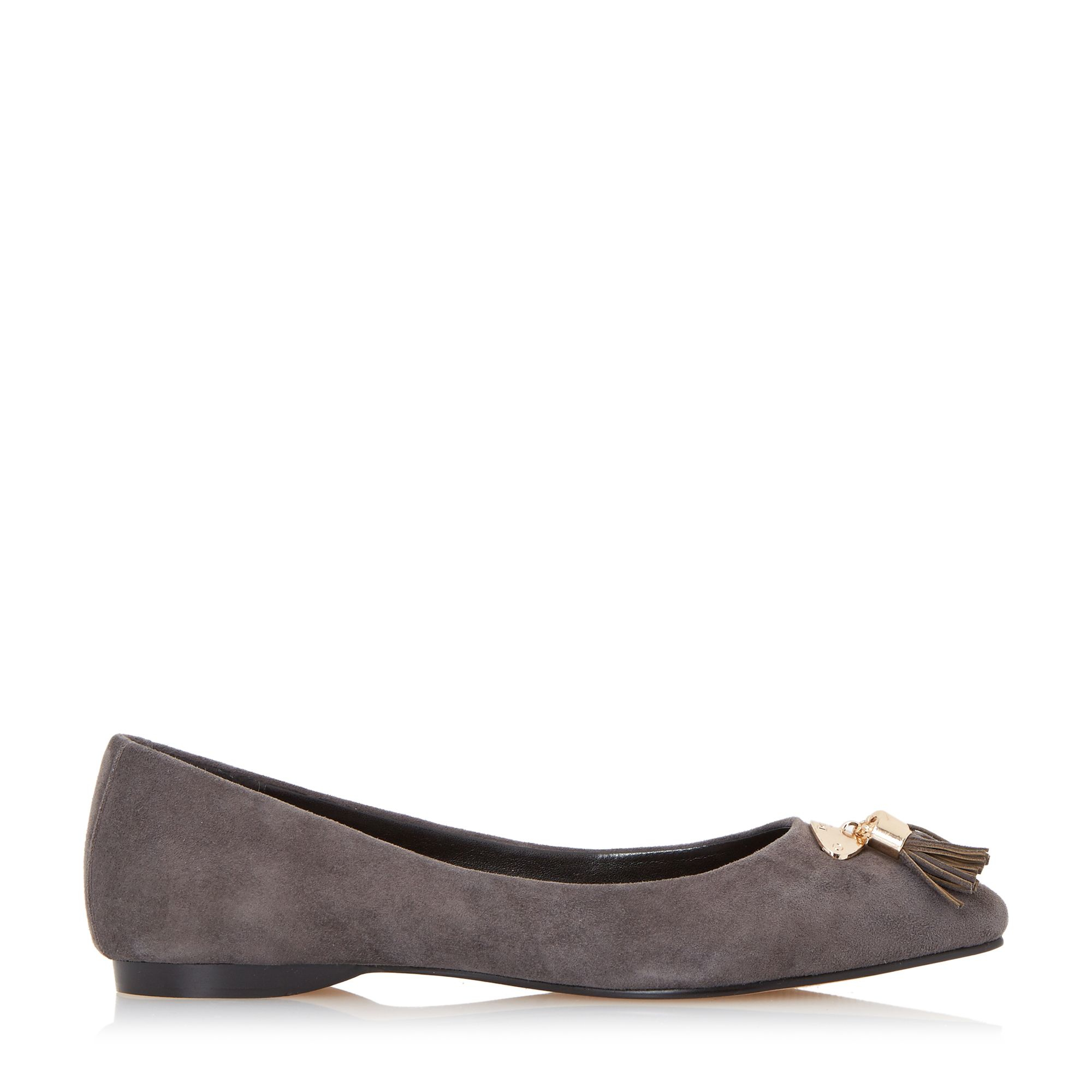 Dune Hewee Tassel Trim Pointed Toe Flat Shoes In Gray (Grey) | Lyst