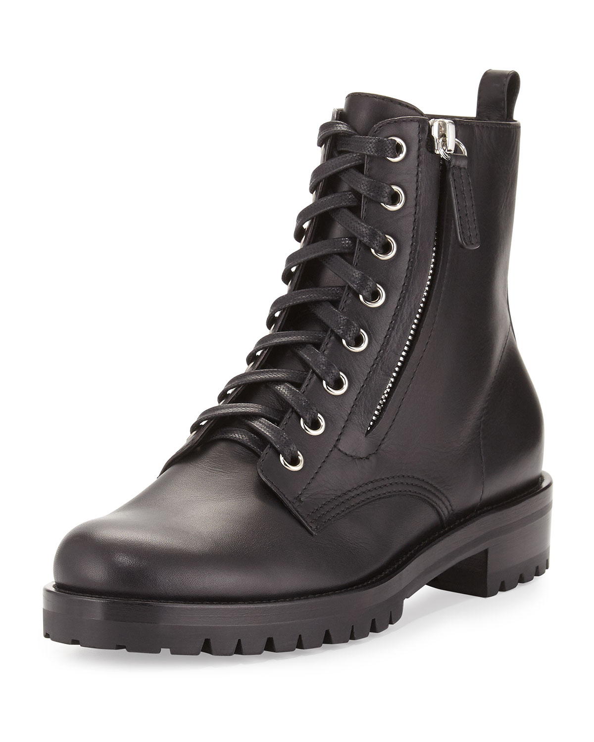 Gianvito Rossi Black Leather Combat Boots Y8kfh6