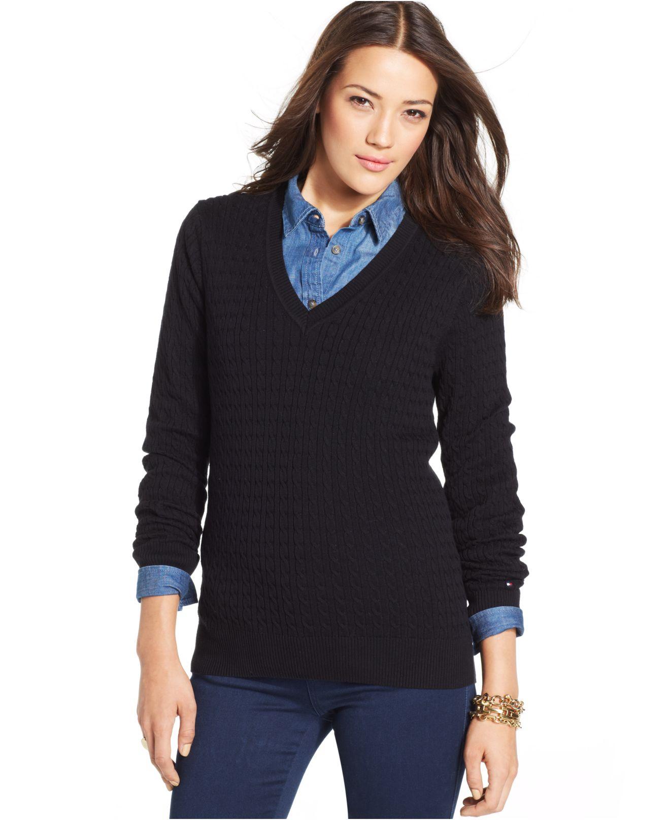 6196445ef10 Tommy Hilfiger Black Cable-Knit V-Neck Sweater