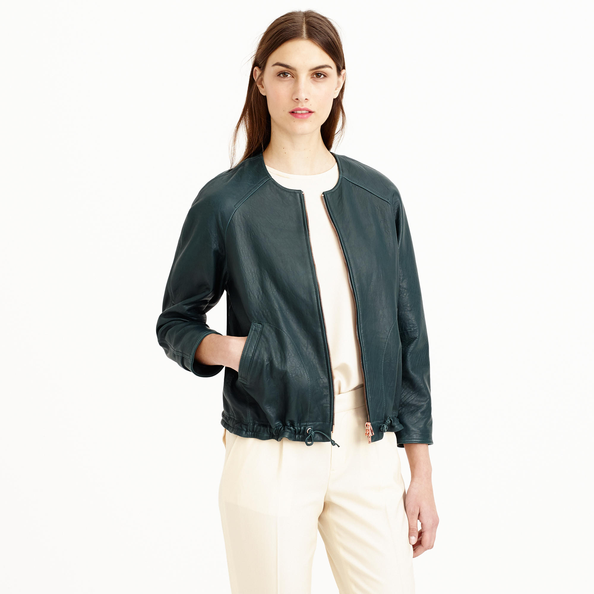 Jcrew Collection Collarless Leather Jacket In Blue  Lyst-8739