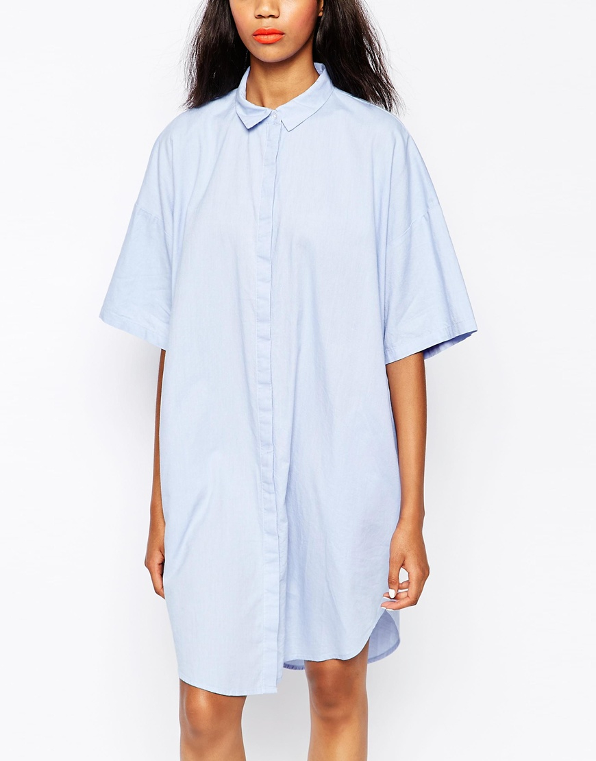 Lyst monki chambray shirt dress in blue for Blue chambray shirt women s