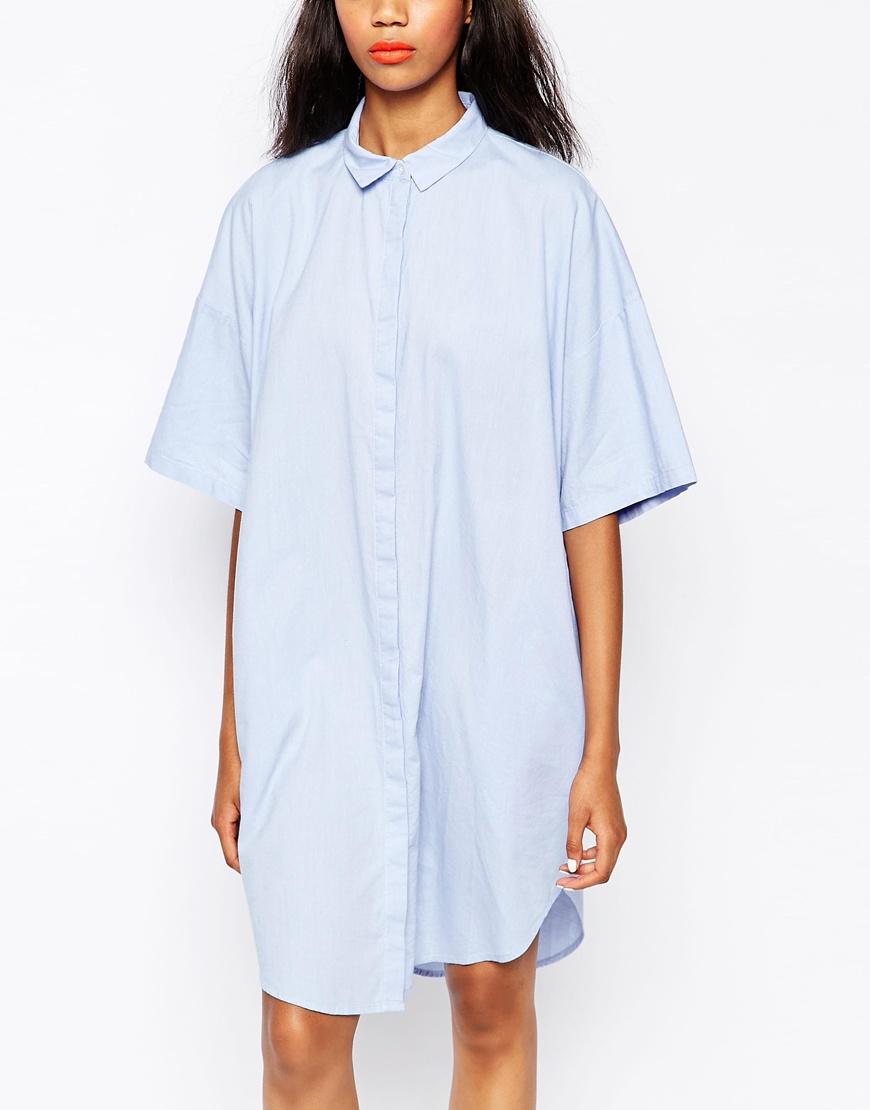 Monki Chambray Shirt Dress In Blue Lyst