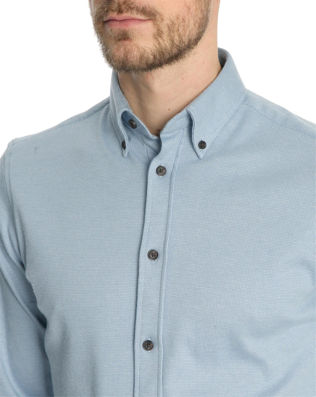 Menlook Label Smith Knitted Blue Button Down Collar Shirt