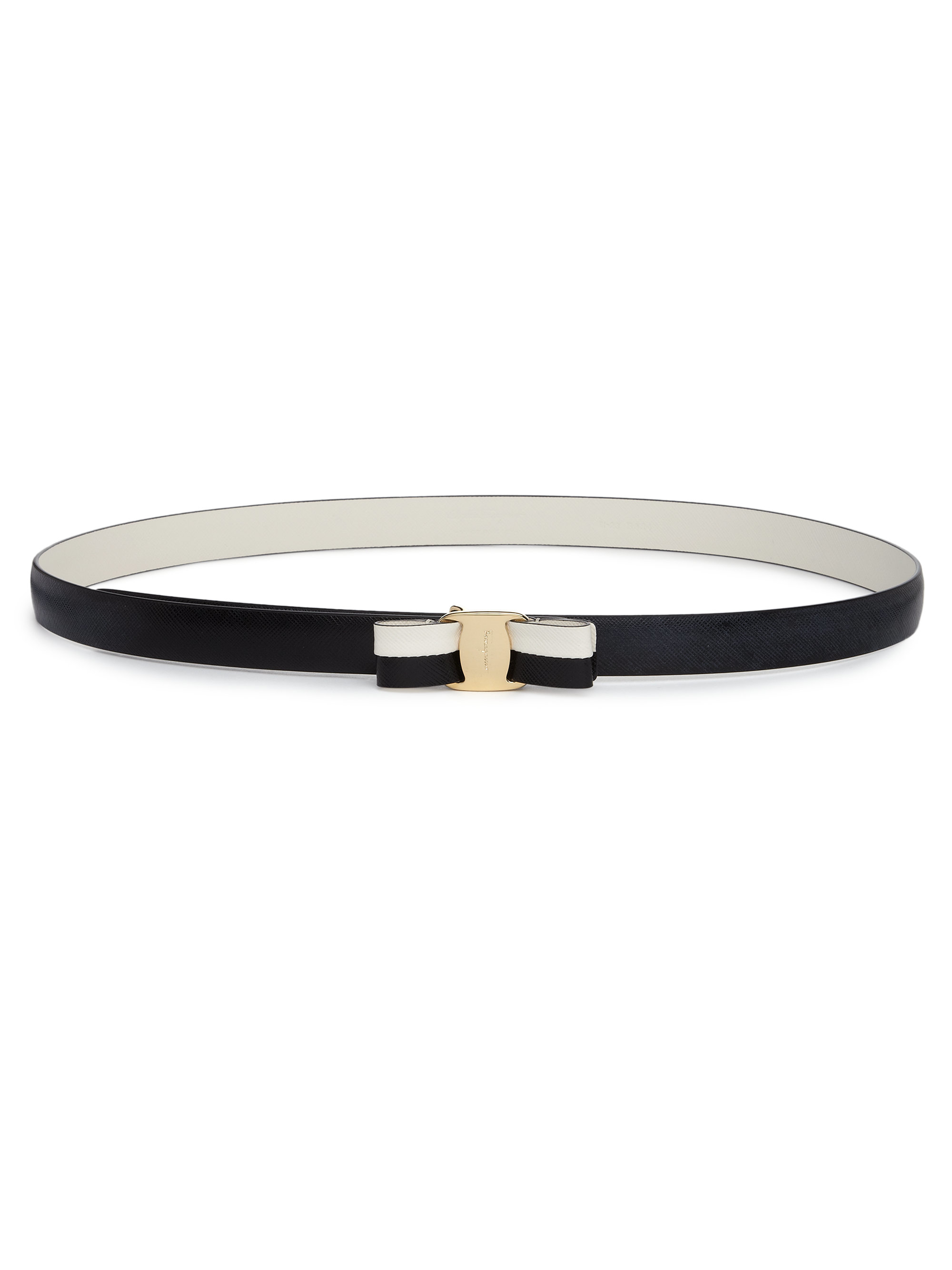 Ferragamo Miss Vara Two-tone Saffiano Leather Bow Belt in ...