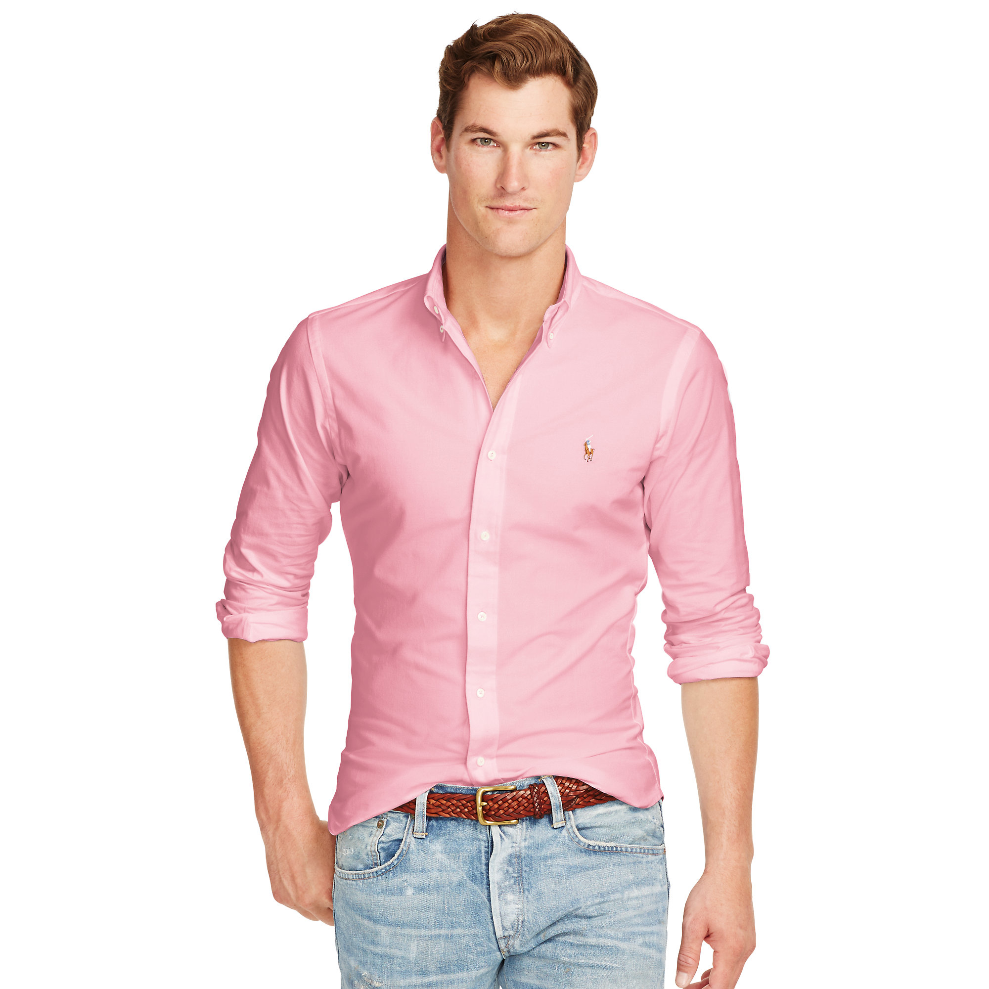 d0c4c4d5bd1d3 Lyst - Polo Ralph Lauren Slim-fit Stretch Oxford Shirt in Pink for Men
