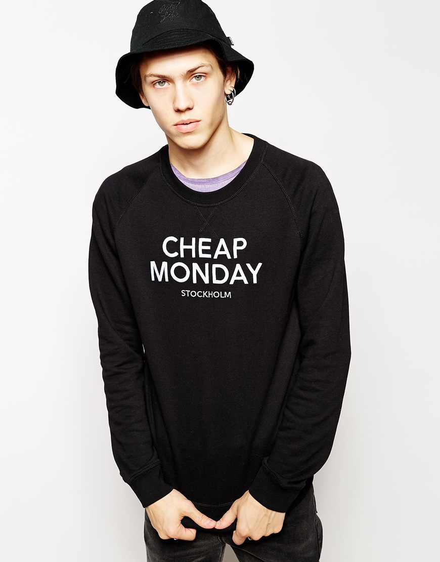 Cheap monday Sweatshirt With Embroidered Logo in Black for Men | Lyst