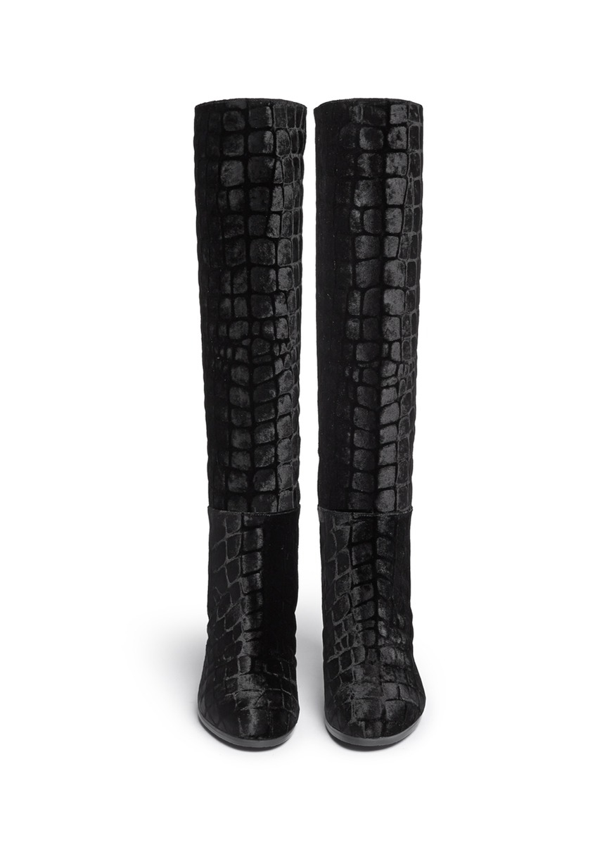 Stuart Weitzman Nohitrack Croc Embossed Velvet Knee High Boots In Black Lyst