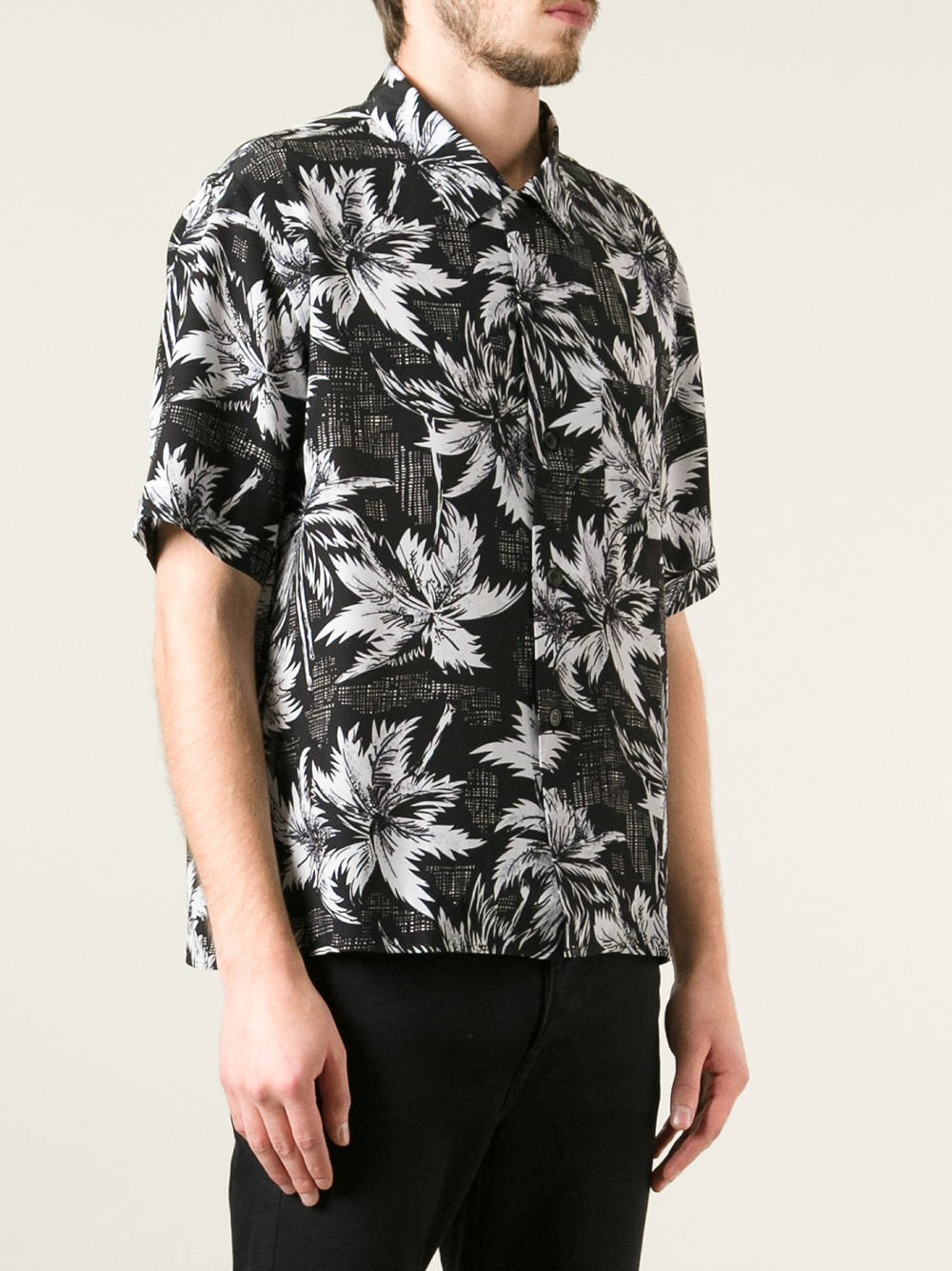 Saint laurent Hawaiian Flower Printed Shirt in Black for Men | Lyst