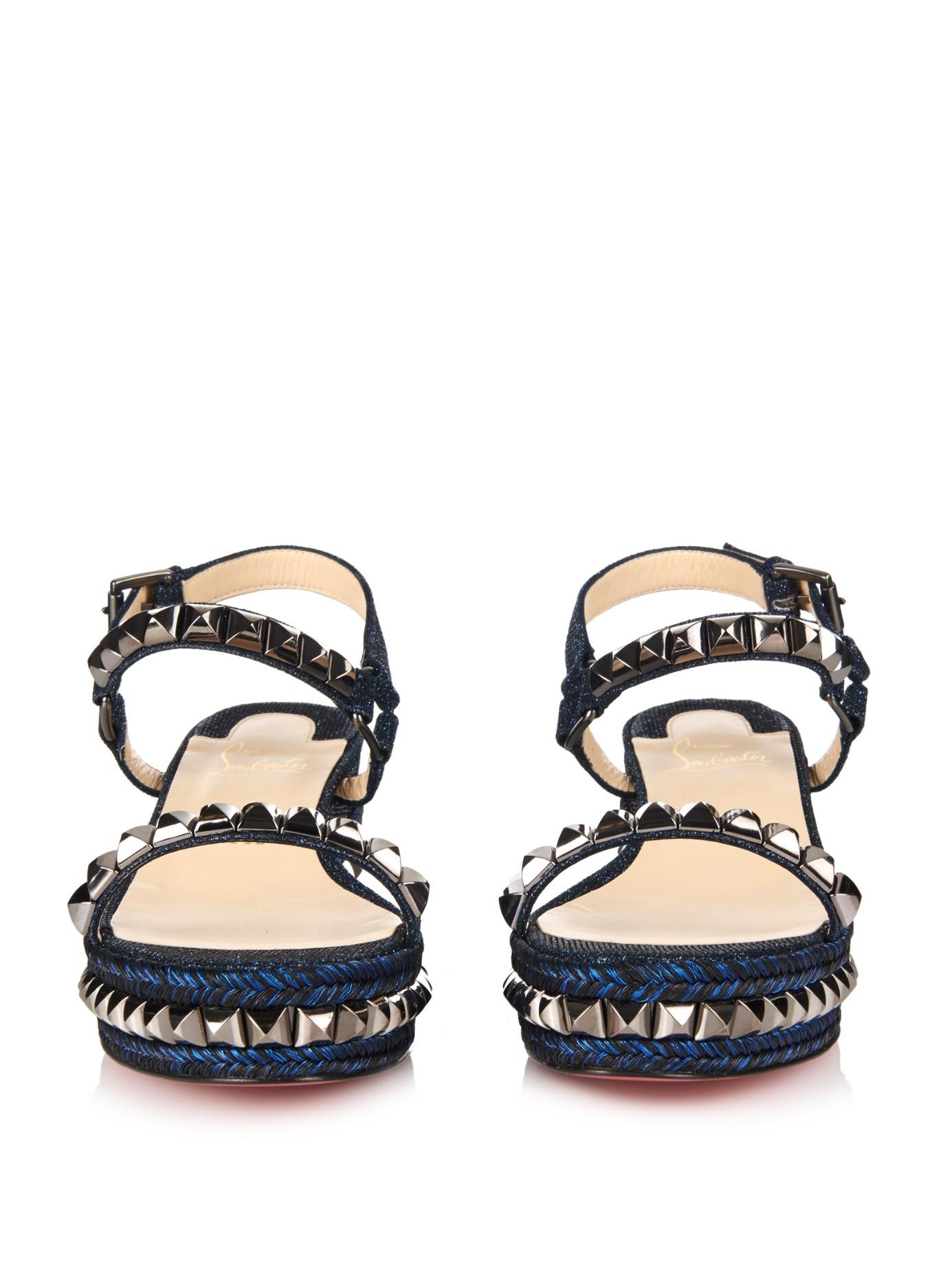 ea9d2efb4b4 Lyst - Christian Louboutin Cataclou 60Mm Flatform Sandals in Blue