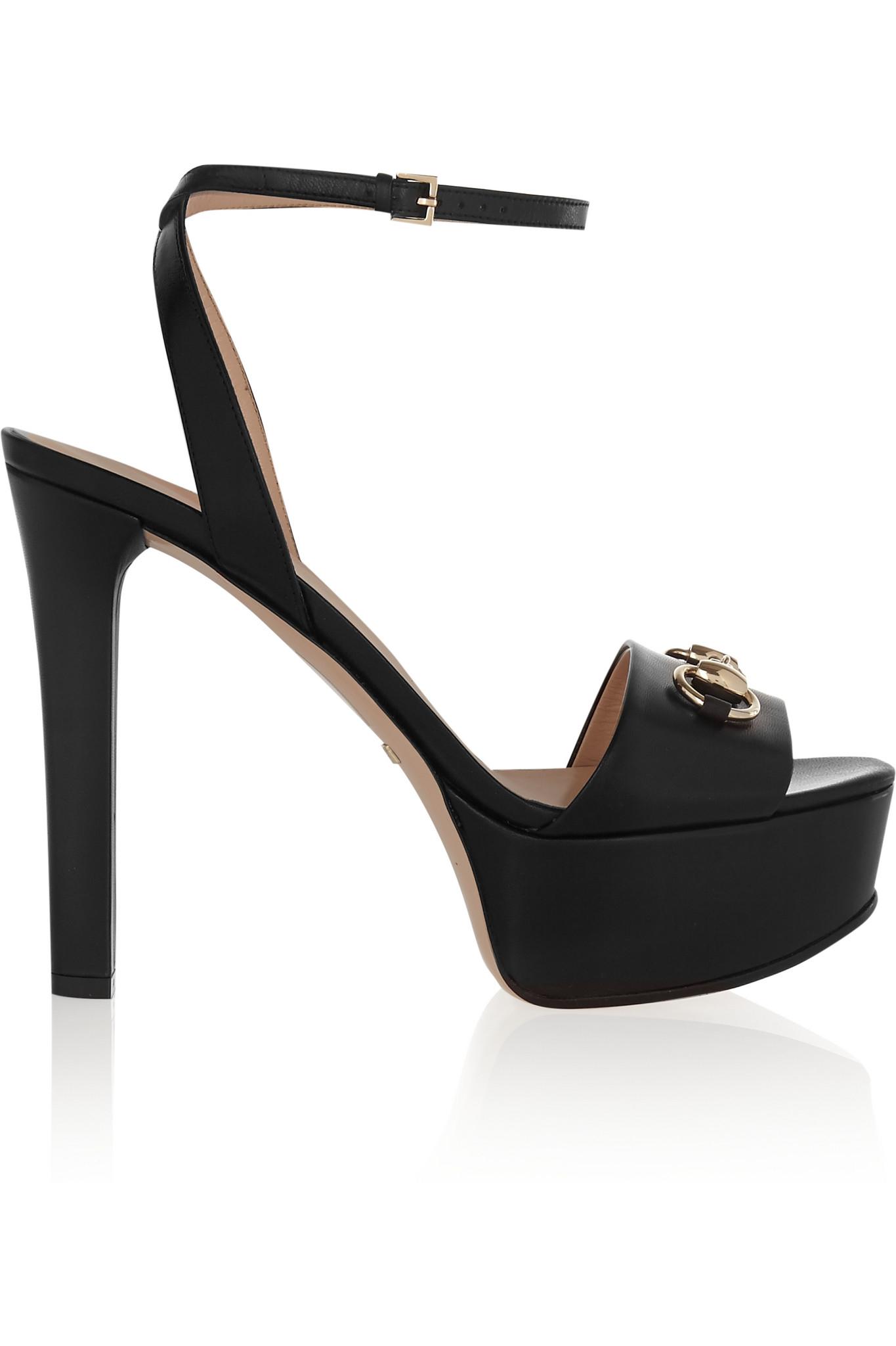 4518b76c8c Gucci Horsebit-detailed Leather Platform Sandals in Black - Lyst