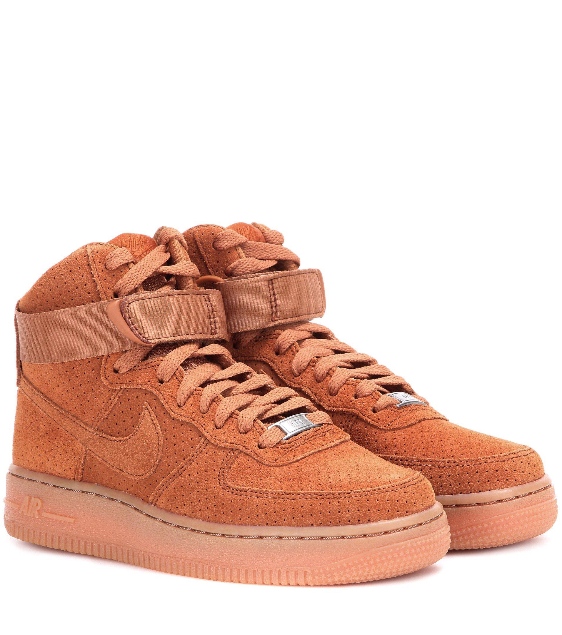 lyst nike air force 1 suede high top sneakers in brown. Black Bedroom Furniture Sets. Home Design Ideas