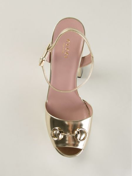 Gucci Chunky Heel Sandals In Gold Metallic Lyst