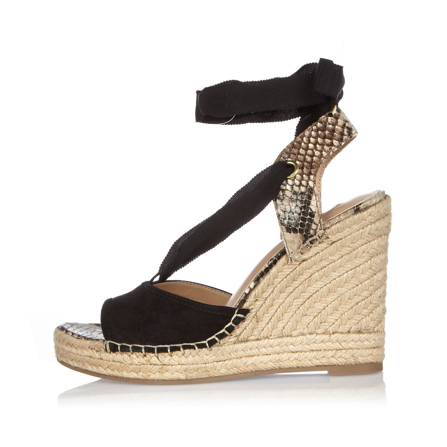 11d058aff6495 Lyst - River Island Black Suede Lace-up Wedge Sandals in Black