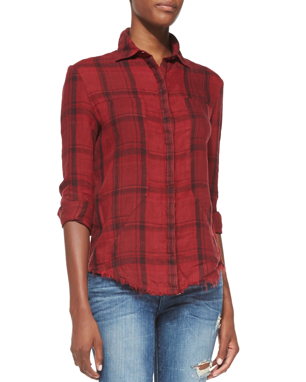 Rta Denim Red Plaid Industrial Shirt In Red Lyst