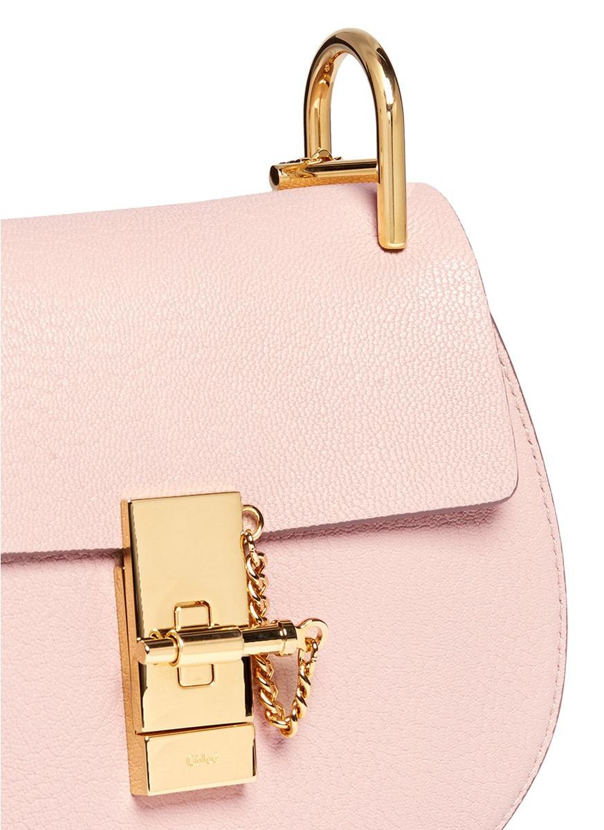 chloe knockoff handbags - Chlo�� \u0026#39;drew\u0026#39; Mini Grainy Leather Shoulder Bag in Pink | Lyst