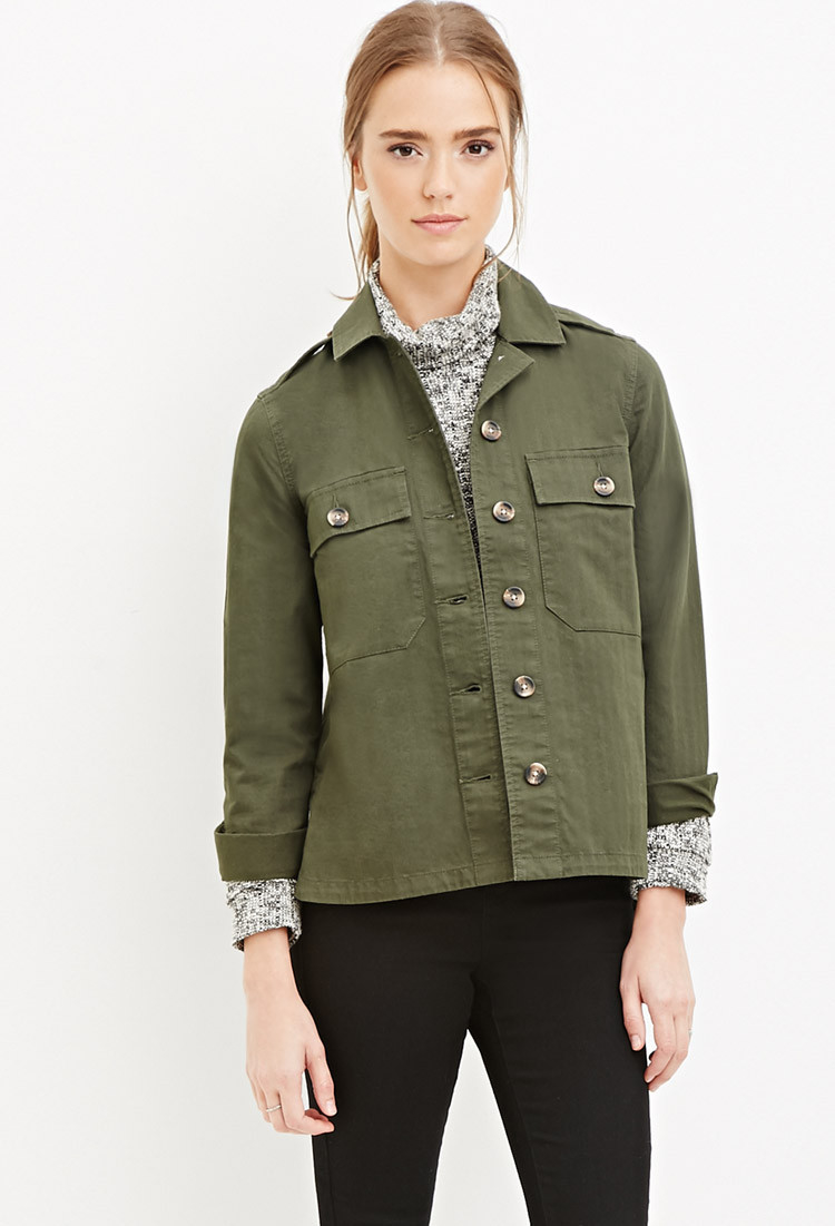 Forever 21 Cotton Twill Jacket in Green | Lyst