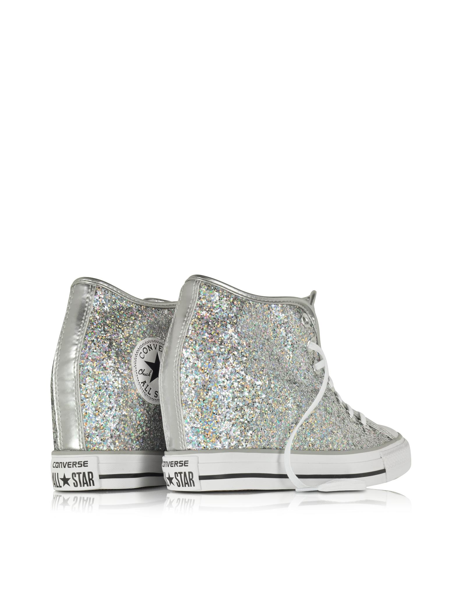 9616e91ccbf Lyst - Converse All Star Mid Lux Glitter Wedge Sneaker in Gray