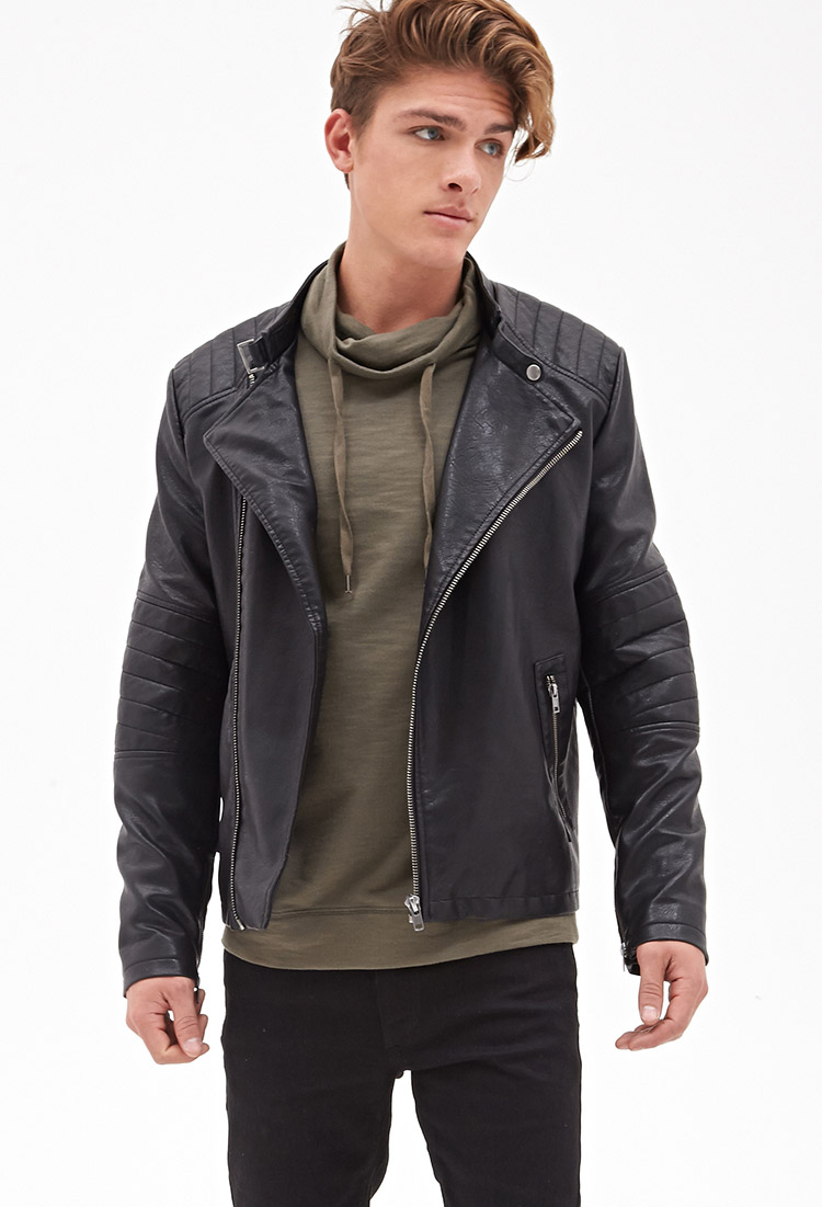 5ed7a278b Forever 21 Quilted Faux Leather Moto Jacket in Black for Men - Lyst